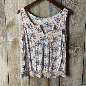 Romy Floral Flower Runched Tank Blouse Large